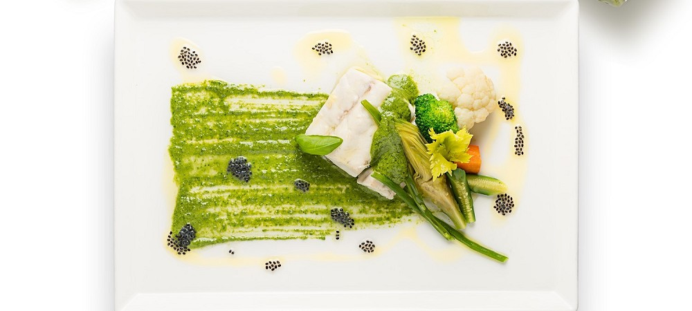 White fish with steamed vegetables and Genoese Pes