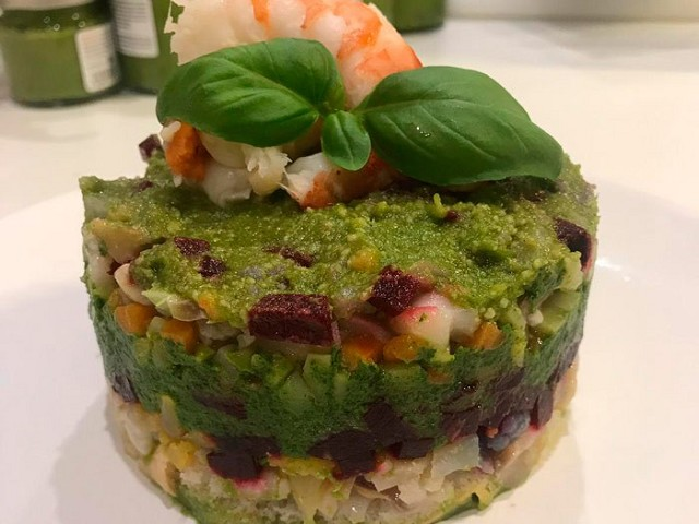 Pesto Cappon magro (Genoa's salad of seafood and