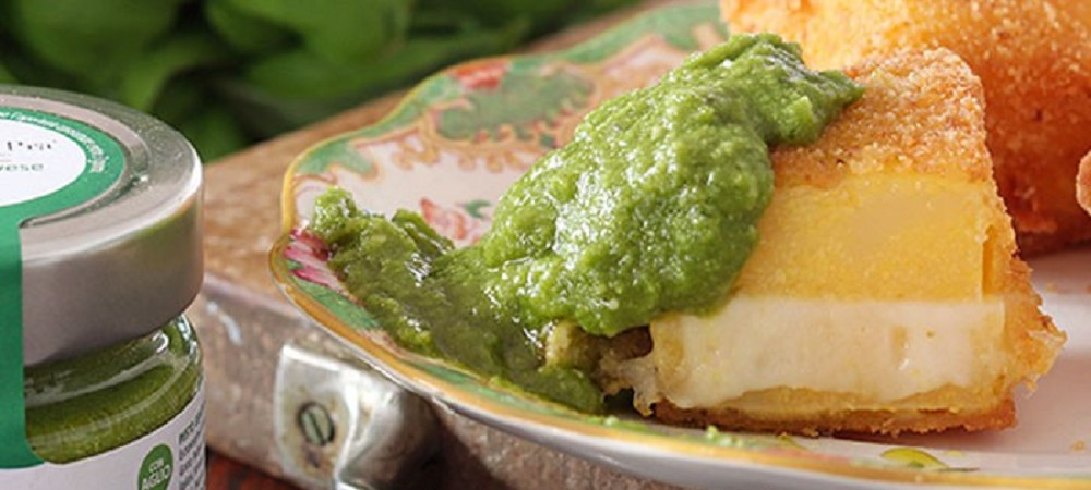 Polenta in carrozza and Pesto di Pra'