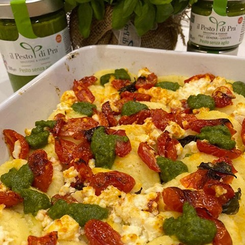 Gnocchi alla romana with cherry tomatoes and Pesto di Pra'