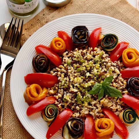 Cereals, wild rice, vegetables and Pesto salad